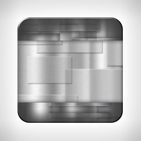 Metal texture icon (button) on neutral background, template for applications (app), web user interfaces, internet sites and business presentations.