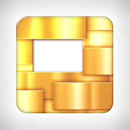 Gold texture icon (button) on neutral background, template for applications (app), web user interfaces, internet sites and business presentations.