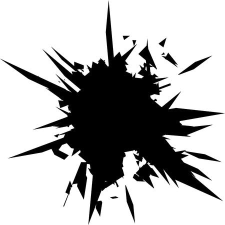 Vektor-Illustration. Zerbrochenes Glas mit scharfen Kanten Hintergrund. Comic-Stil. Bild mit Platz für Text.