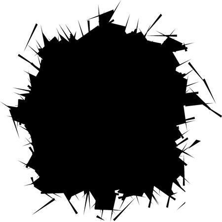 Vektor-Illustration. Zerbrochenes Glas mit scharfen Kanten Hintergrund. Comic-Stil. Bild mit Platz für Text. Vektorgrafik
