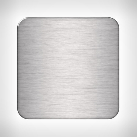 metal plate: Metal texture icon (button) on neutral background, template for applications (app), web user interfaces, internet sites and business presentations.