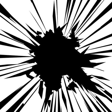 Illustrazione vettoriale. Vetro rotto con bordi taglienti sfondo. stile fumetto. Immagine con posto per il testo. Vettoriali