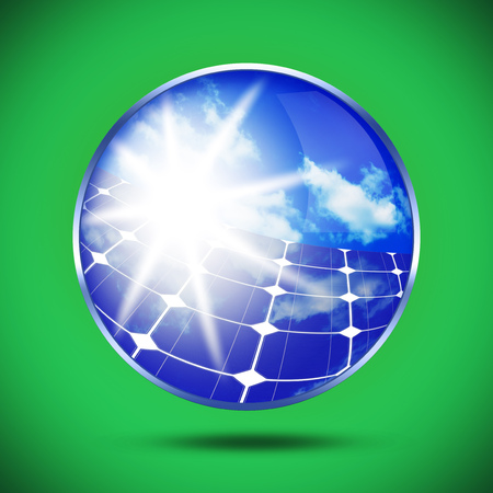 solarenergy: Image of solar panels clean energy source on green background.