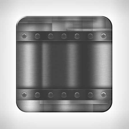 metal button: Metal texture icon (button) on neutral background Stock Photo