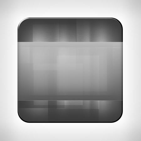 neutral background: Metal texture icon (button) on neutral background Stock Photo