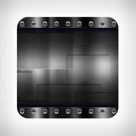 neutral background: Dark metal texture icon (button) on neutral background