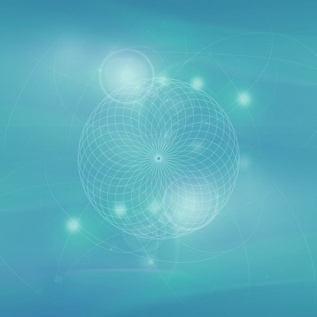 Sacred geometry abstract symbol blue background, esoteric sign