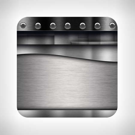 metal plate: Metal texture icon (button) on neutral background Stock Photo