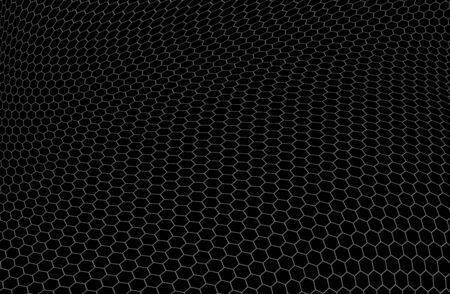 transistor: Structure of graphene in the form of hexagons over black background