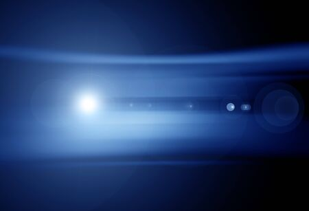 flare light: Abstract blue background with lens flare light effect Stock Photo