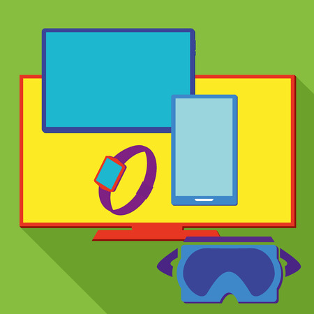 equipment: Computer electronic equipment set Illustration