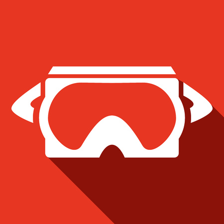 gaming: Virtual reality glasses, gaming and entertainment headset icon illustration over red background