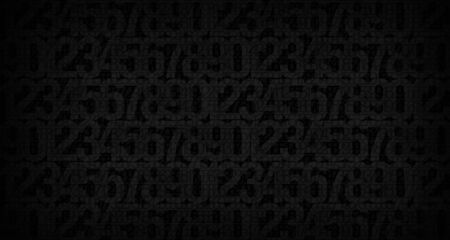 Abstract dark background with the image of numbers to illustrate the design work of cryptography, computer technology or security systems