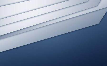 Abstract image of white paper strips on blue background with dark corners Stock Photo