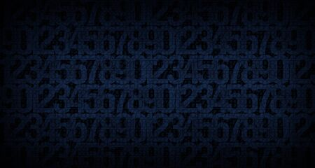 Abstract dark blue background with the image of numbers to illustrate the design work of cryptography, computer technology or security systems Stock Photo