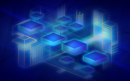 Blockchain network background. The concept represents the exchange of data on the Internet of things. Modern technology for the exchange of information between devices. Illustration in dark blue colors. Banco de Imagens