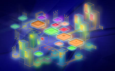 Blockchain network background. The concept represents the exchange of data on the Internet of things. Modern technology for the exchange of information between devices. Illustration in blue colors. Banco de Imagens