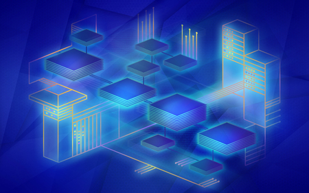 Blockchain network background. The concept represents the exchange of data on the Internet of things. Modern technology for the exchange of information between devices. Illustration in blue colors. Reklamní fotografie - 115566047