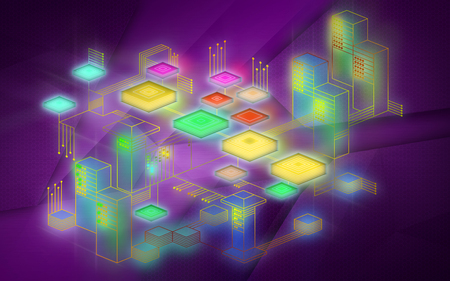 Blockchain network background. The concept represents the exchange of data on the Internet of things. Modern technology for the exchange of information between devices. Illustration in purple colors.