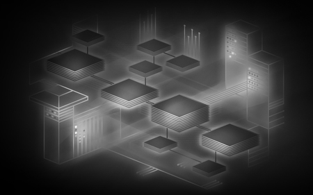 Blockchain network background. The concept represents the exchange of data on the Internet of things. Modern technology for the exchange of information between devices. Illustration in black and white colors. Banco de Imagens