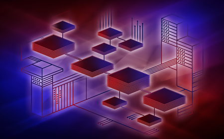 Blockchain network background concept represents the transferring of data on the Internet of things. Modern technology for the exchange of information between devices. Illustration in red and blue colors.
