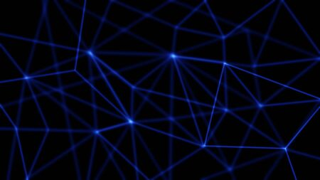 Dark blue abstract background that shows connections between network nodes - data, information, or biological objects.