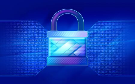 The concept of information security. The firewall system in the form of a lock converts digital information into binary code. The illustration in blue on a dark background.