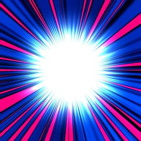 Bright white flash or explosion with blue and pink rays on a dark background, similar to the image in comics Foto de archivo - 133841661