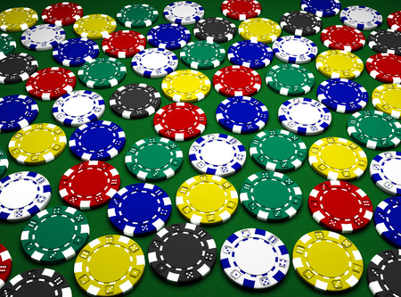 Casino chips  on green background Stock Photo