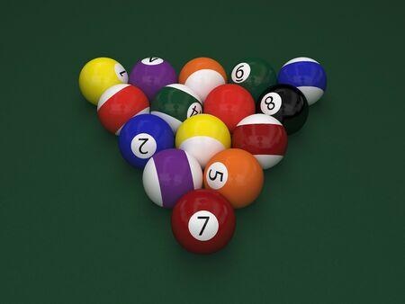 cue ball: billiard balls on green table (3d rendering)