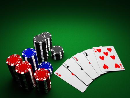 Casino Chips und Karten auf grünem Hintergrund Standard-Bild - 85158861