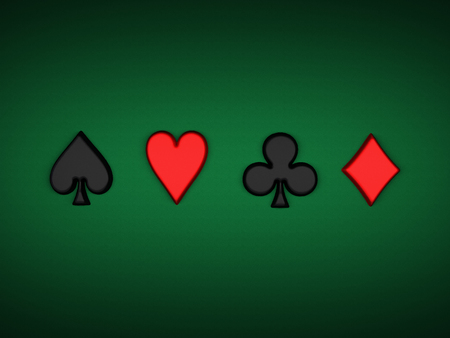 casino suit on green background