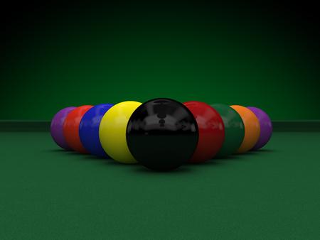 balles de billard sur la table verte (rendu 3D)