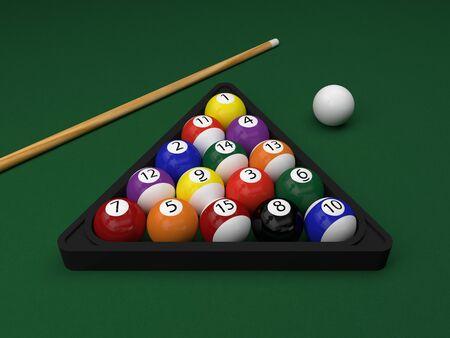 billiard balls on green table (3d rendering)