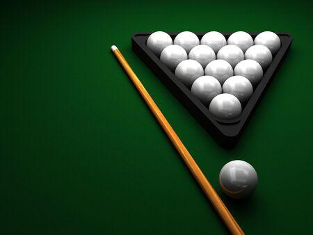 Billiard balls with a cue on a green billiard table 3d rendering Archivio Fotografico - 135705511