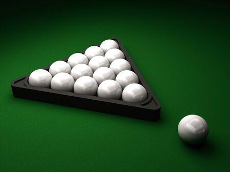 billiard balls on green table 3d rendering Archivio Fotografico - 135711785