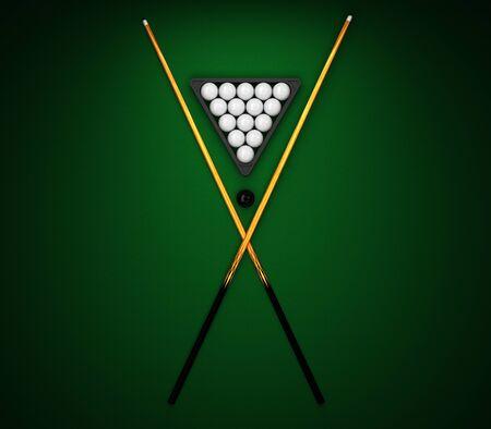 Billiard balls with a cue on a green billiard table 3d rendering Archivio Fotografico - 135711782