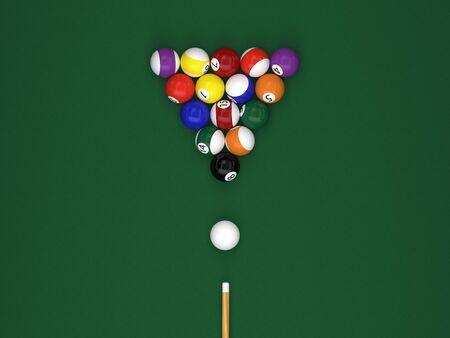 Billiard balls with a cue on a green billiard table 3d rendering Archivio Fotografico - 135711784