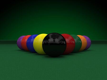 billiard balls on green table 3d rendering Archivio Fotografico - 135711787