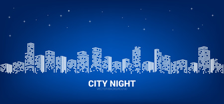Panorama city night background with starry sky