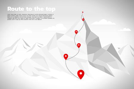 Rotta verso la cima della montagna: concetto di obiettivo, missione, visione, percorso di carriera, stile di linea di collegamento a punti poligonali