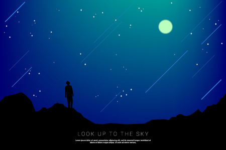 silhouette man look up to the sky in starry night: concept of man with his mission Illustration