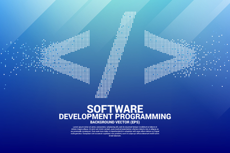 Vector software development programming tag icon with square dot pixel. Concept for Programming language technology and coding.