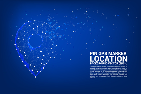 Vector Network Pin mark polygon dot connected line: concept of travel route, location, journey