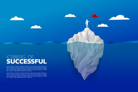 Silhouette of businessman with flag standing on top of iceberg. Business Concept of iceberg successful.