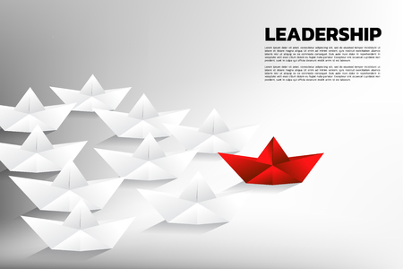 Red origami paper ship leading the group of white. Business Concept of team leadership. 向量圖像