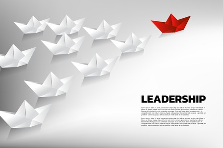 Red origami paper ship leading the group of white. Business Concept of team leadership. Vectores