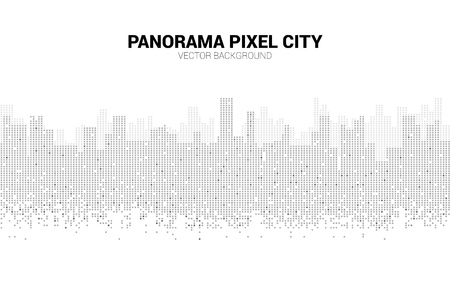 Panorama city Building background with windows pixel shape. Background concept for urban night.
