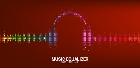Sound wave Music Equalizer background. audio visual headphone icon with pixel wave graphic style