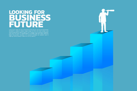 Silhouette of businessman looking through telescope to business trend graph. business concept of target market forecast. Vecteurs